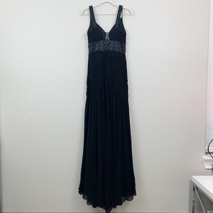Sue Wong Dresses - Sue Wong Black Beaded Sequined Strap Pleated Dress
